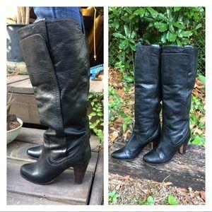 UO Dolce Vita Black Knee High Heeled Moto Boots
